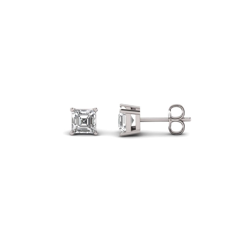 5MM ACSHER CUT IN WHITE GOLD EARRINGS - DRIP MIAMI
