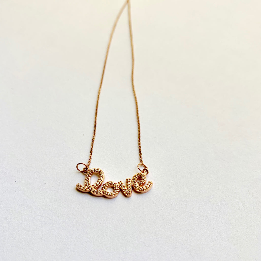 18k Rose Gold Love Necklace - DRIP MIAMI