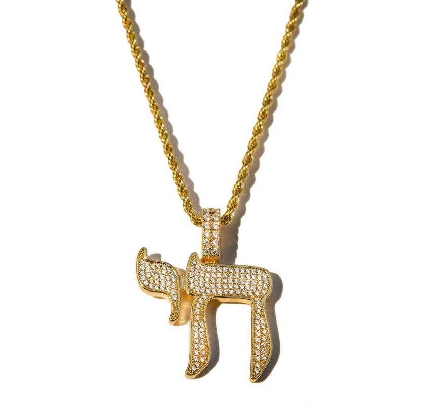 Mirco Chai Pendant Yellow Gold  - Chain Not Included - DRIP MIAMI
