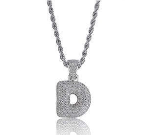 .925 D Pendant Necklace Silver Rope Chain - DRIP MIAMI