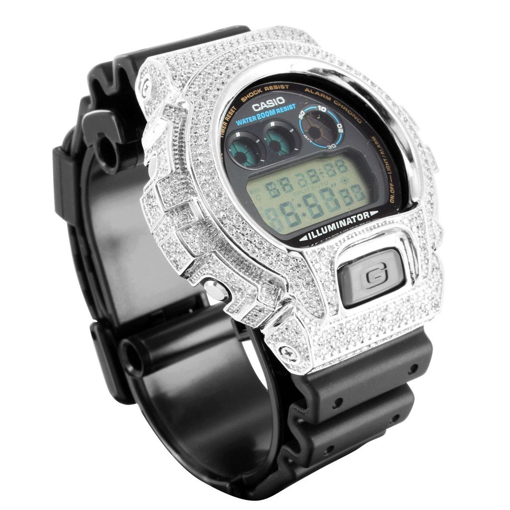 G- SHOCK IN WHITE GOLD WHITE CZ - DRIP MIAMI
