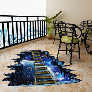 3D Interstellar Space Floor Stickers, Galaxy Suspension Bridge Wall Decals ,Milky Way Decorations