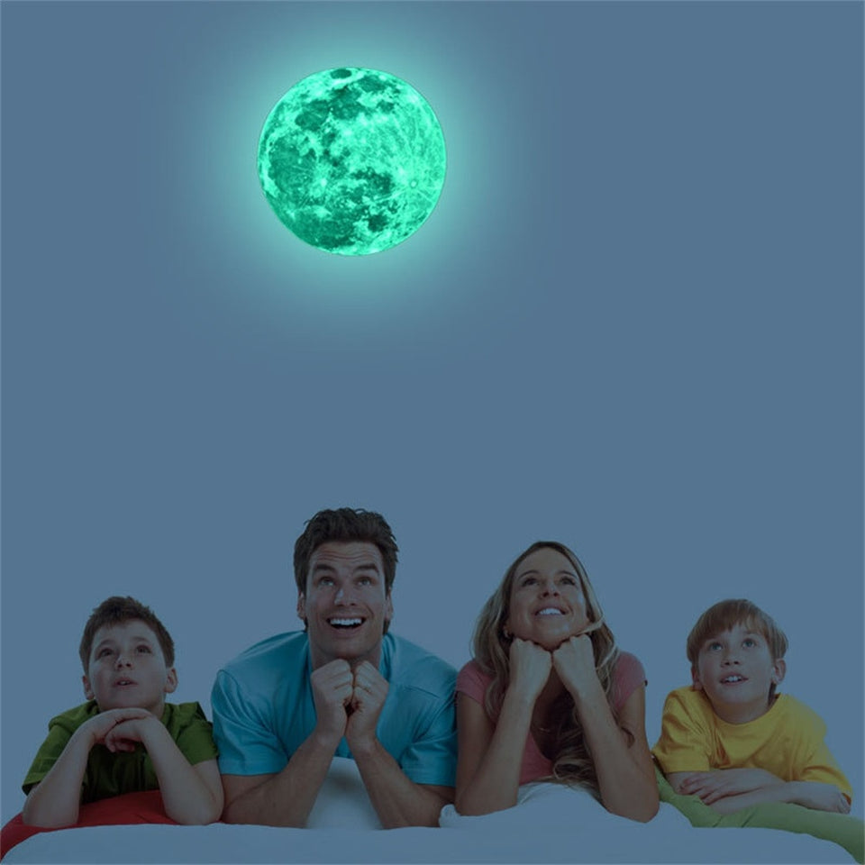 3D Large Moon Fluorescent Wall Sticker Removable Glow In The Dark Sticker