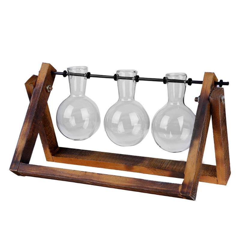 Glass Propagation Vase With Wooden Stand