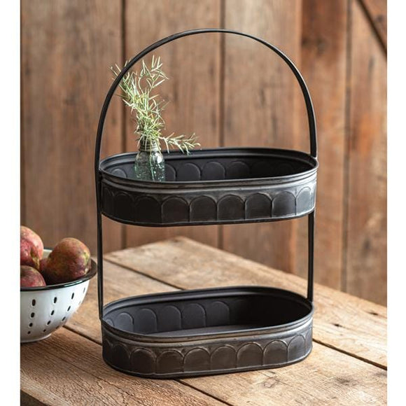 Two-Tiered Corrugated Oval Tray - Black - Countryside Home Decor