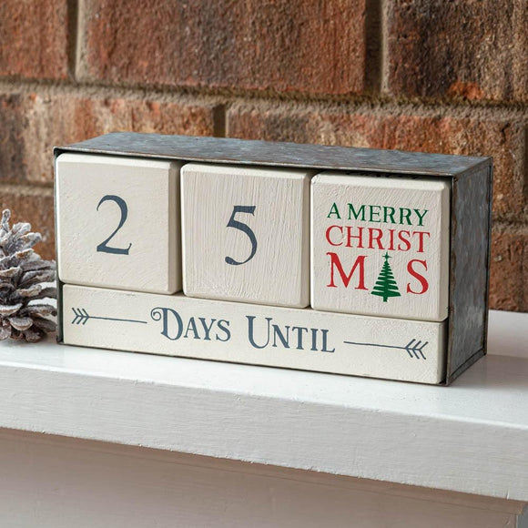 Wooden Block Calendar with Metal Box