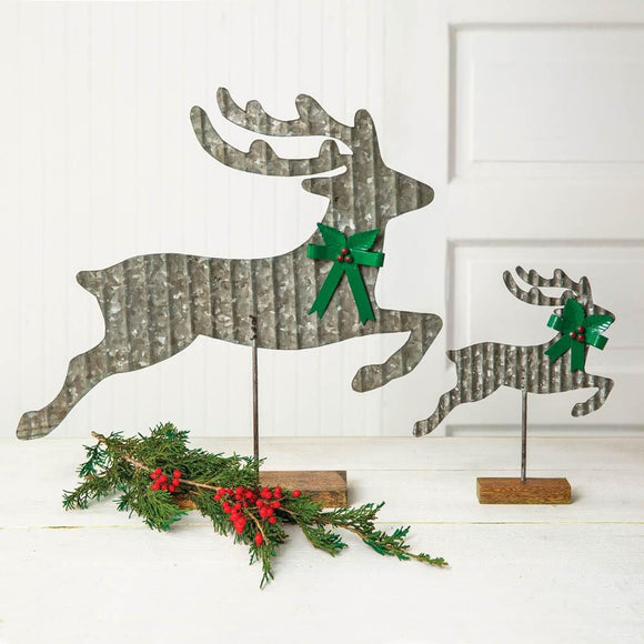 Set of Two Galvanized Reindeers