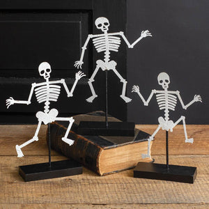 Set of Three Skeletons with Wooden Base