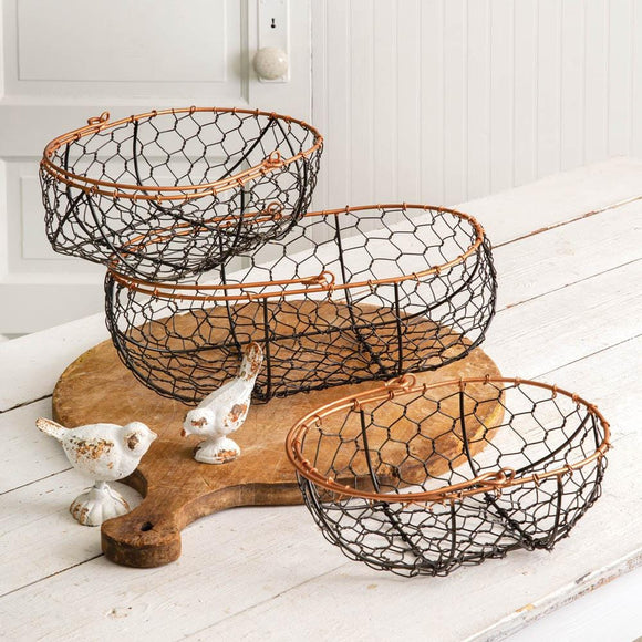Set of Three Wire Gathering Baskets - Oval