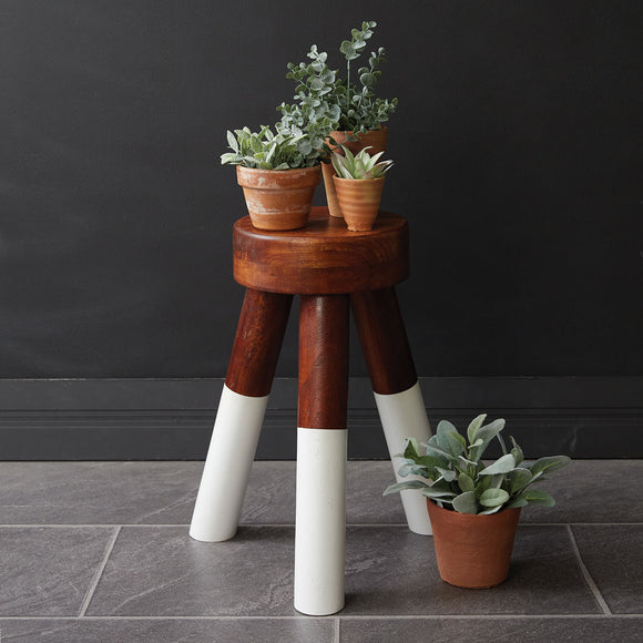 Dip-Dyed Wood Plant Stool