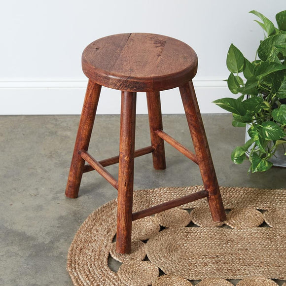 Vintage-Inspired Polished Wooden Stool
