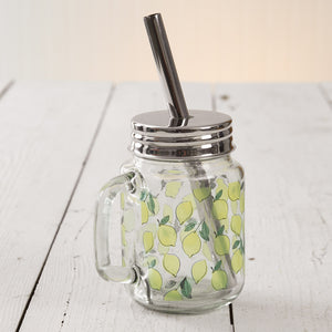 Lemons Glass Mug with Straw