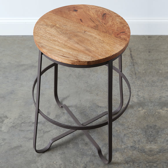 Industrial Wood Top Stool
