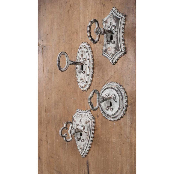 Set of Four Vintage Key Metal Hooks - Box of 4 - Countryside Home Decor