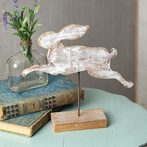 Wooden Rabbit Cut Out with Base - Countryside Home Decor