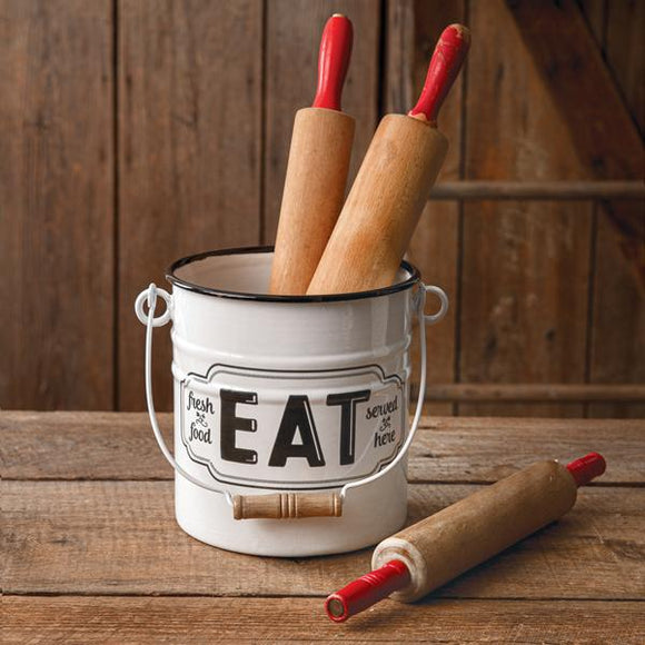 Eat Enamel Bucket - Countryside Home Decor