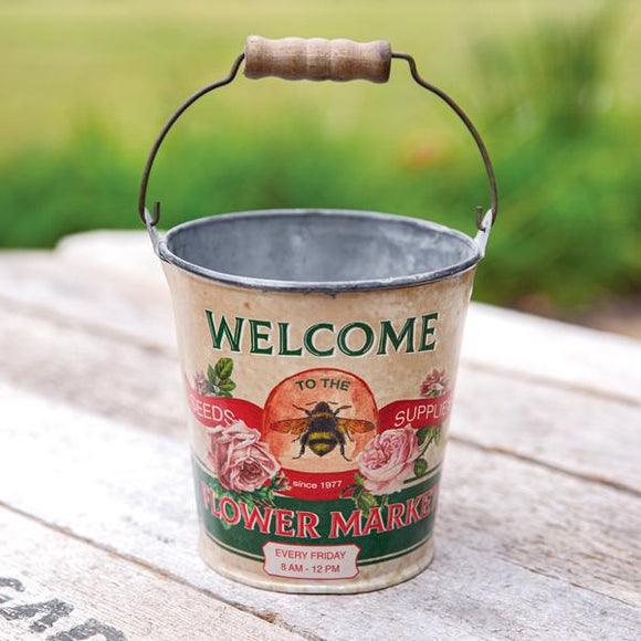 Flower Market Bucket with Handle - Countryside Home Decor