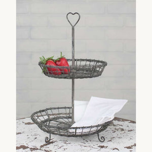 Wire Heart Two-Tier Serving Stand - Countryside Home Decor