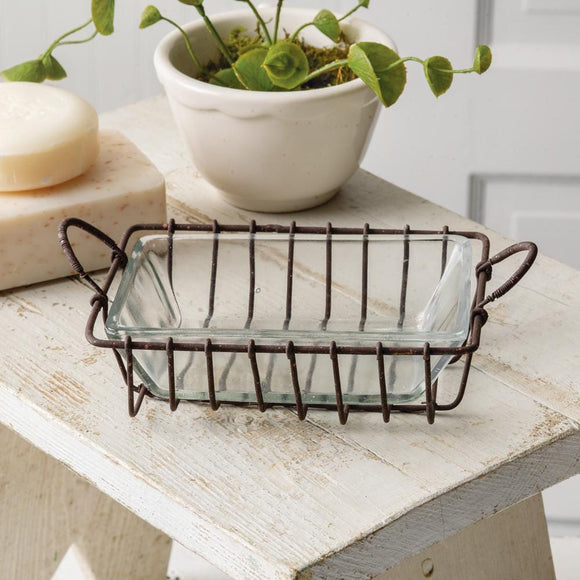 Wire Soap Dish with Glass Dish - Box of 2 - Countryside Home Decor
