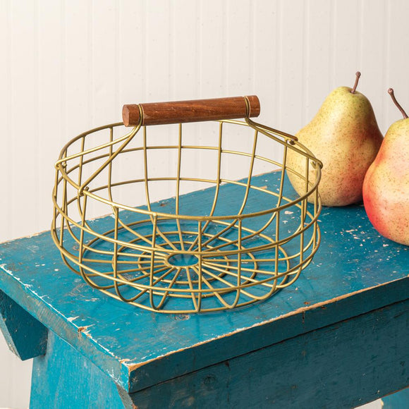 Metal Gathering Basket with Wood Handle - Countryside Home Decor