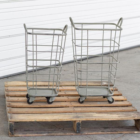 Set of Two Heavy Duty Rolling Storage Baskets - Countryside Home Decor