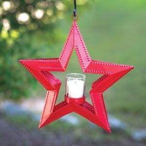 5 Point Hanging Star Votive Holder - Red - Countryside Home Decor