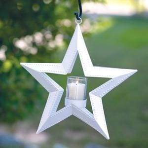 5 Point Hanging Star Votive Holder - White - Countryside Home Decor