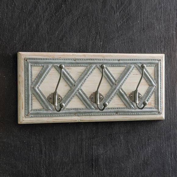 Wood and Metal Diamond Pattern Coat Rack - Countryside Home Decor