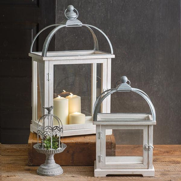 Set of Two Wood and Metal Lanterns - Countryside Home Decor