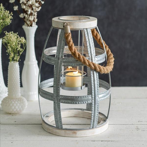 Wood and Metal Seaside Lantern - Countryside Home Decor