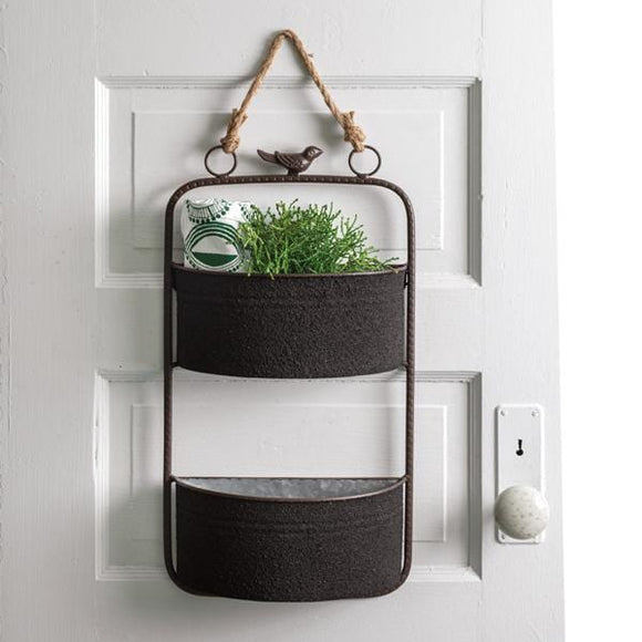 Two-Tier Textured Hanging Organizer with Bird - Countryside Home Decor