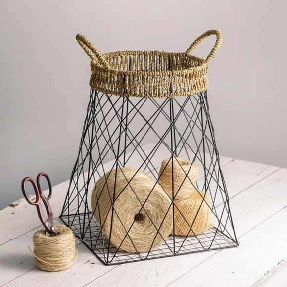 Wire Storage Basket with Jute Accents - Countryside Home Decor