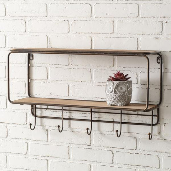 Two-Tier Wood Wall Shelf with Five Hooks - Countryside Home Decor