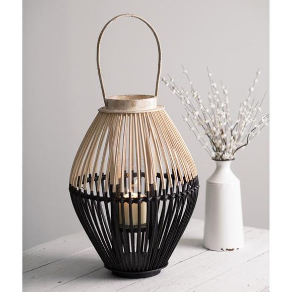 Two-Tone Wood Lantern - Countryside Home Decor