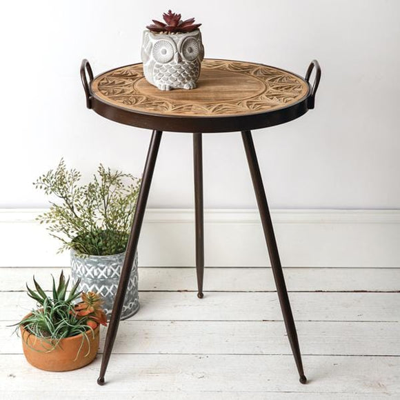 Decorative Wood Top Table - Countryside Home Decor