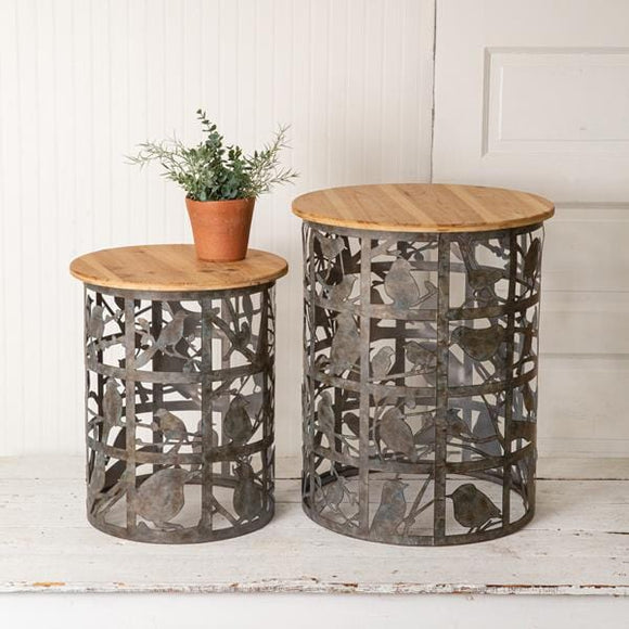 Set of Two Bird Cutout Side Tables - Countryside Home Decor