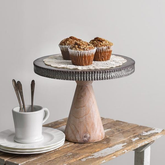 Metal Dessert Stand with Wood Base - Countryside Home Decor