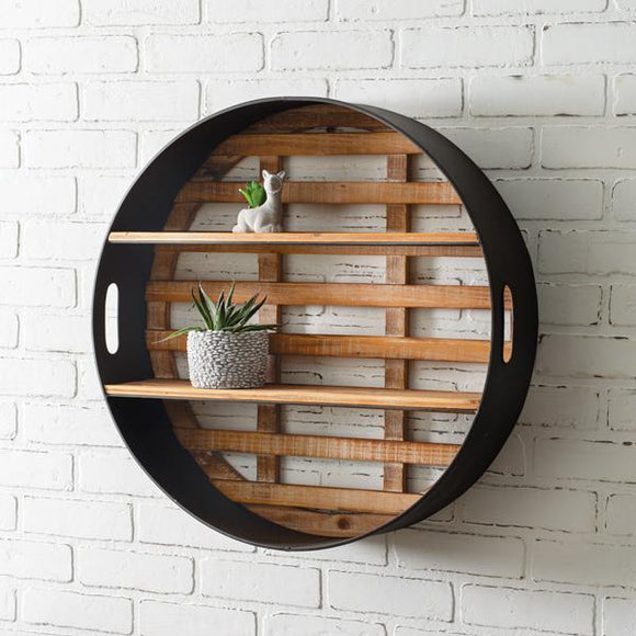 Round Wood and Metal Wall Display - Countryside Home Decor