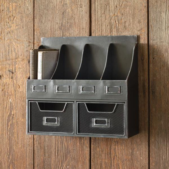 Four Pocket Organizer with Two Drawers - Countryside Home Decor