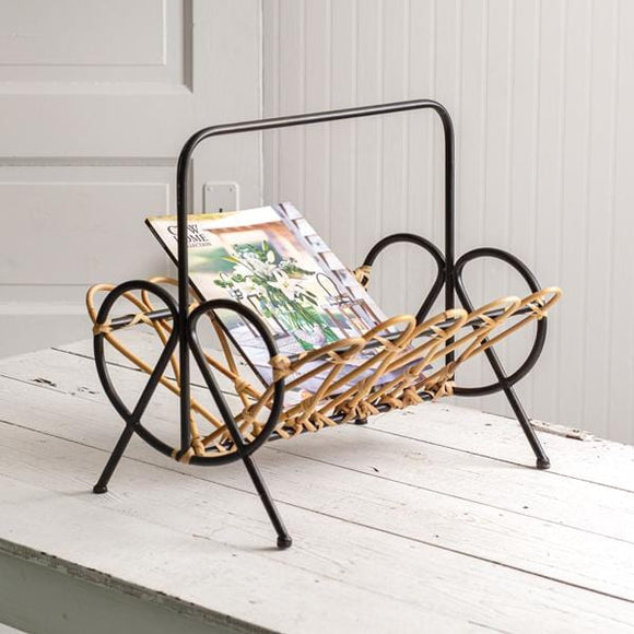 Rattan and Metal Magazine Holder - Countryside Home Decor