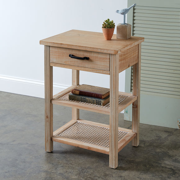 Two-Tiered Wood and Cane Side Table