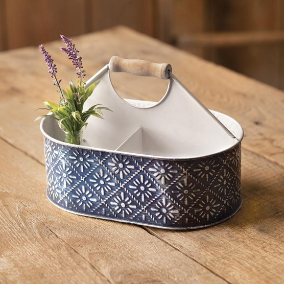 Navy Blue Floral Caddy - Countryside Home Decor