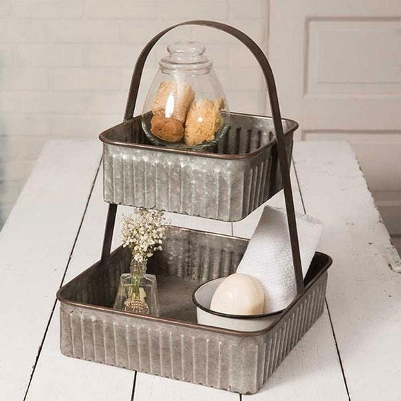 Two-Tiered Corrugated Square Tray - Countryside Home Decor