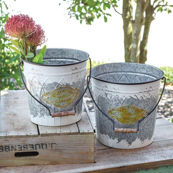 Set of Two Flowers & Garden Buckets with Handle - Countryside Home Decor