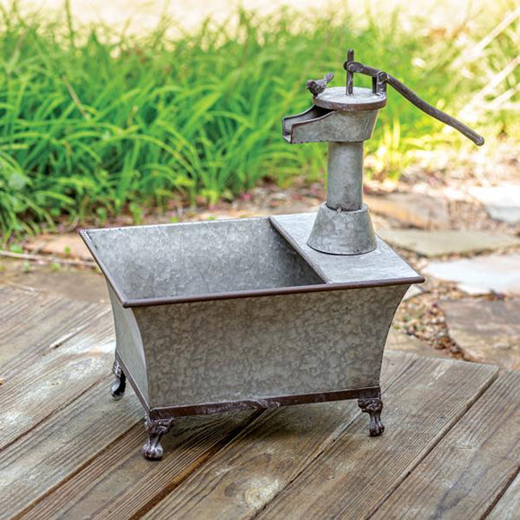 Galvanized Water Pump Planter - Countryside Home Decor