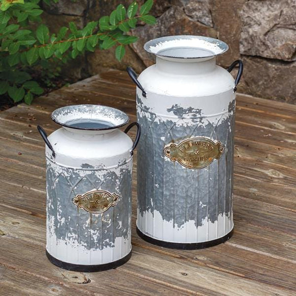 Set of Two Flowers & Garden Milk Cans - Countryside Home Decor