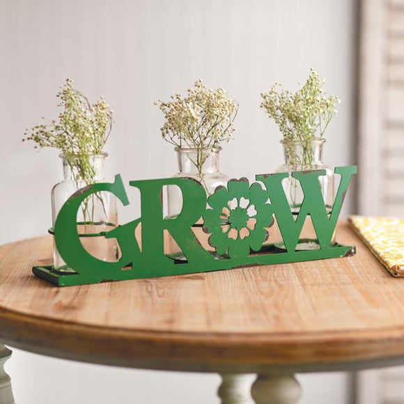 Grow Caddy with Glass Bottles - Countryside Home Decor