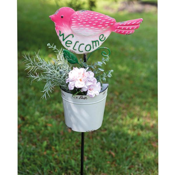 Bird with Bucket Stake - Countryside Home Decor