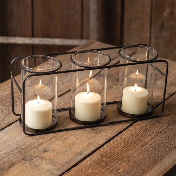 Three Glass Pillar Candle Holder - Countryside Home Decor