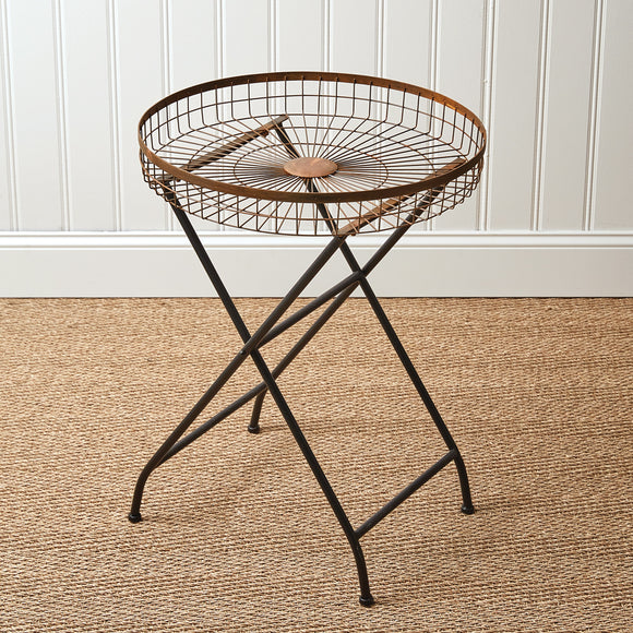 Copper Finish Open Basket Table
